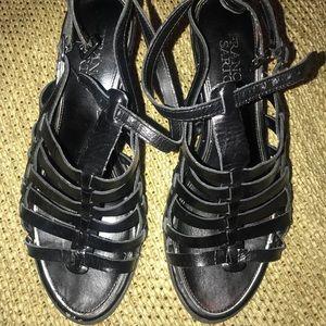😎Franco Sarto leather gladiator sandals black 8